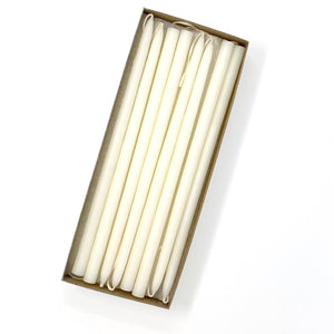 "10"" Shell White Tiny Taper Candles - Mole Hollow Candles"