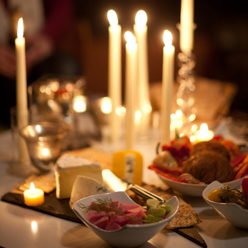 "Load image into Gallery viewer, 12"" White Taper Candles - Candlelit Dinner - Mole Hollow Candles"