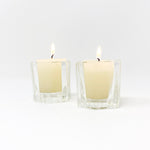 Six-Sided Glass Votive Holders, Set of 2