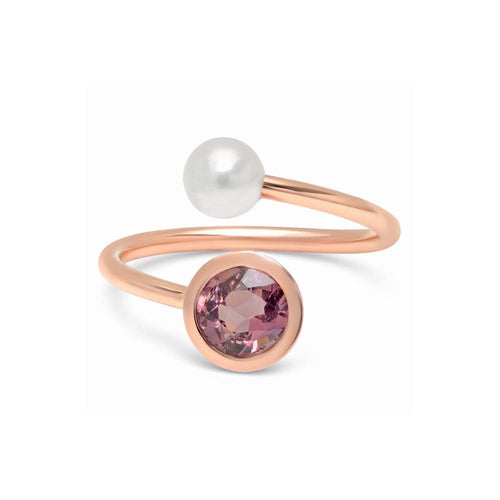 Akoya Pearl and Tourmaline Twist Cuff Ring - VictoriaSix.com