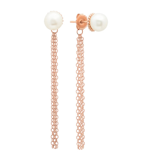 Freshwater Pearl Studs with Tassel Back Earrings - VictoriaSix.com