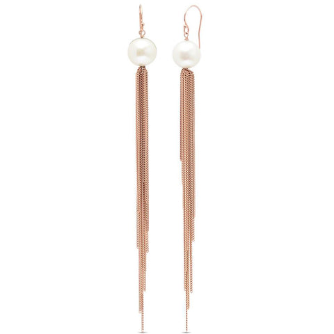 Freshwater Pearl Studs with Tassel Back Earrings