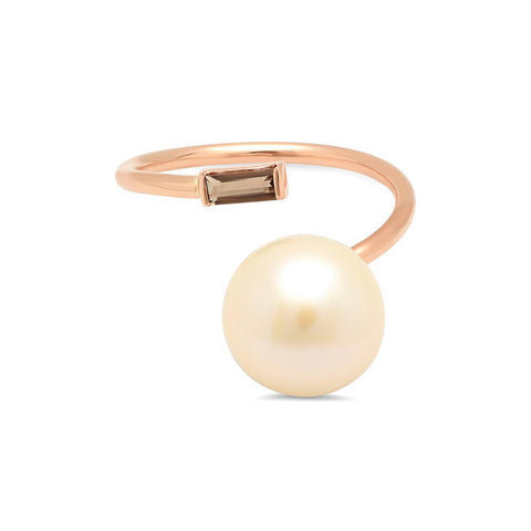 Akoya Pearl and Tourmaline Twist Cuff Ring