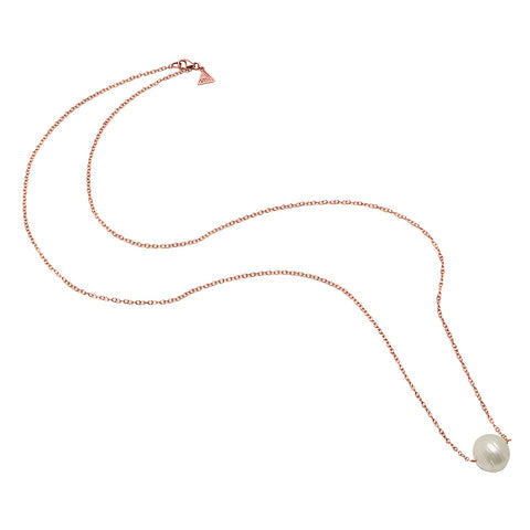 Rectangle Link Single Pearl Lariat