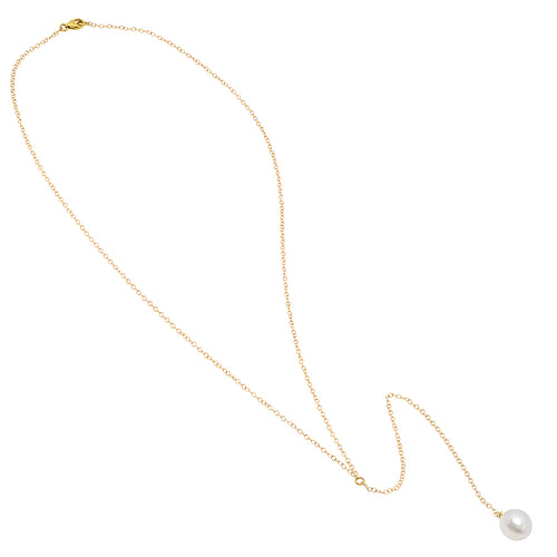 Long Single Pearl Lariat - VictoriaSix.com