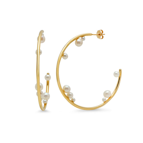 Multi-Pearl Hoop Earrings - VictoriaSix.com