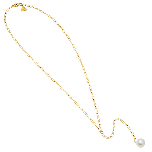 Rectangle Link Single Pearl Lariat - VictoriaSix.com