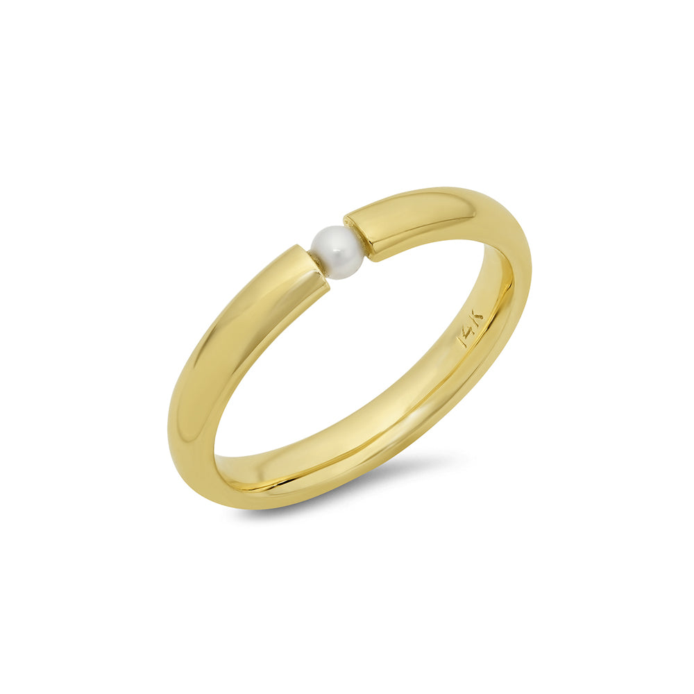 Single Akoya Pearl Stackable Ring - VictoriaSix.com