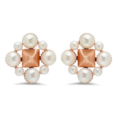 Pyramid and Pearl Flower Earrings - VictoriaSix.com