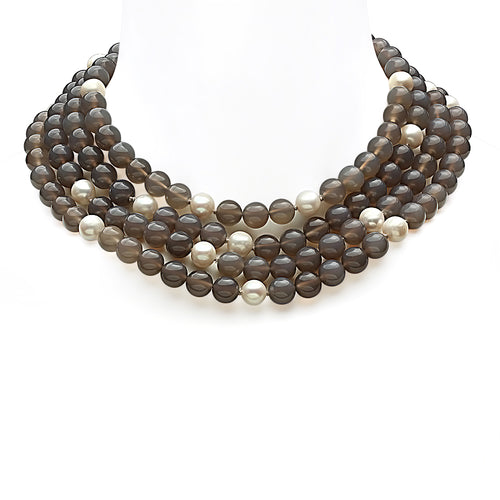 Grey Agate and Freshwater Pearl Necklace - VictoriaSix.com