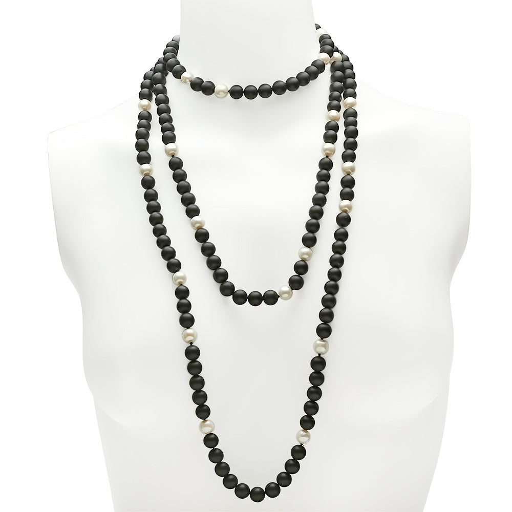 Black Onyx Pearl Necklace - VictoriaSix.com