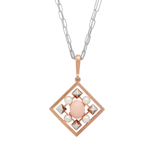 Pearl and Coral Art Deco Pendant Necklace - VictoriaSix.com