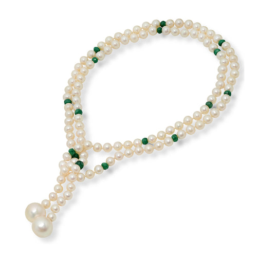 Pearl and Emerald Bead Necklace - VictoriaSix.com
