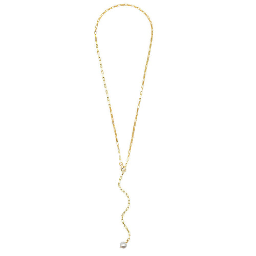 Small Rectangle Link Lariat Pearl Necklace - VictoriaSix.com