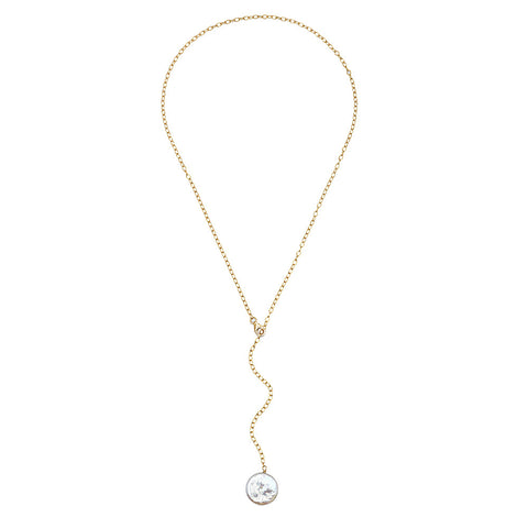 Small rectangular link lariat necklace