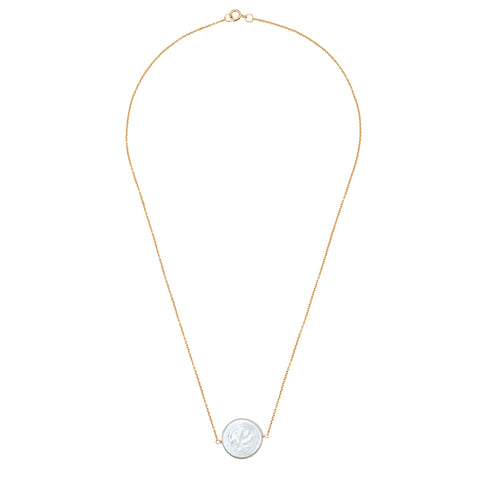 Small Rectangle Link Lariat Pearl Necklace