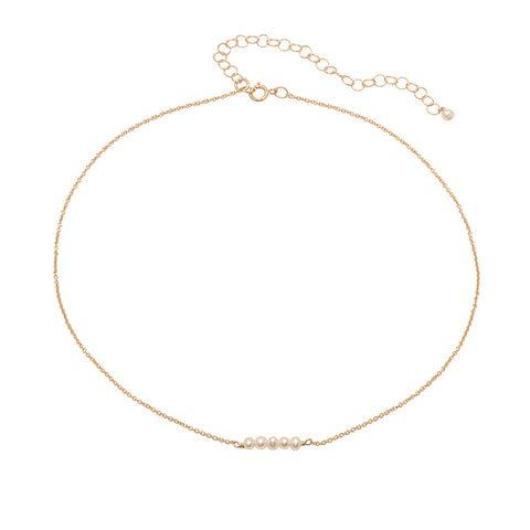 Retro Boxchain Pearl Lariat Necklace