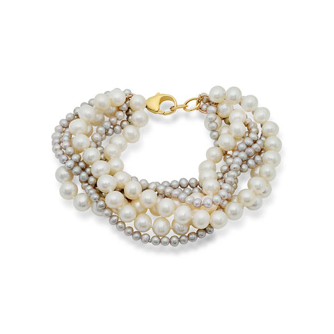 White Pearl and Gold Bead Necklace
