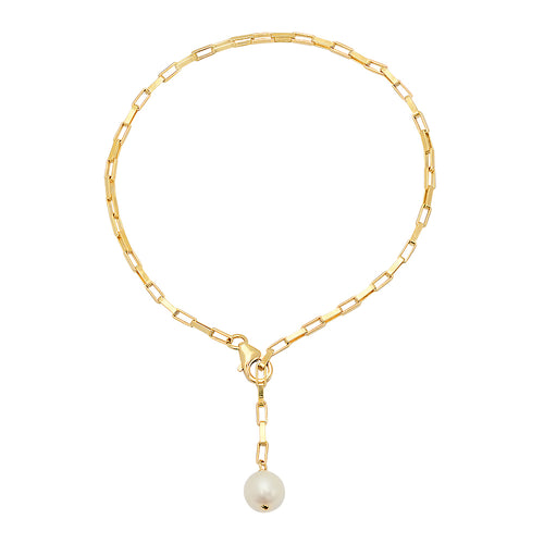 VSIX Rectangle link lariat bracelet with pearl - VictoriaSix.com