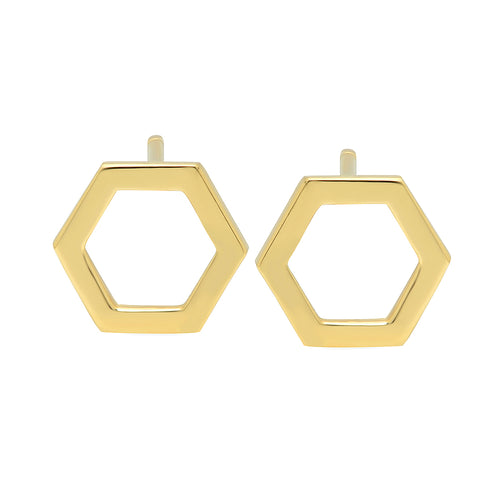 Gold Hexagon Stud Earrings - VictoriaSix.com
