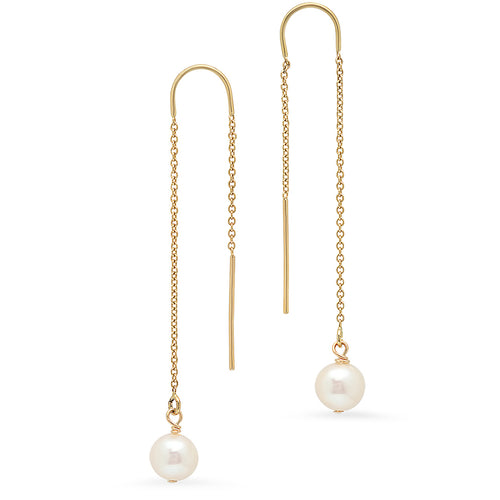 Threader Pearl Earrings - VictoriaSix.com