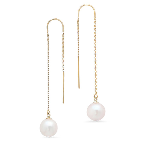 Freshwater Pearl Threader Earrings - VictoriaSix.com
