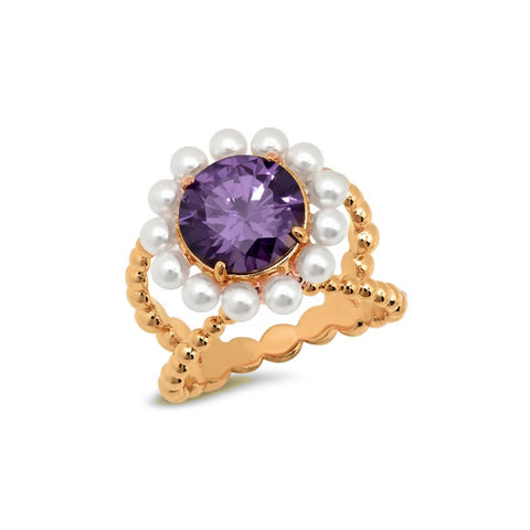 Hot Pink Pear and Pearl Cocktail Ring