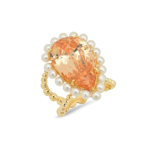 Champagne Pear Shape Pearl Cocktail Ring - VictoriaSix.com