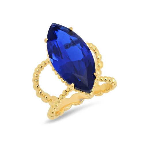 Royal Blue Marquis Cocktail Ring - VictoriaSix.com
