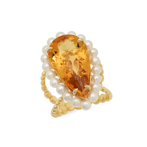 Yellow Citrine Cocktail Ring - VictoriaSix.com