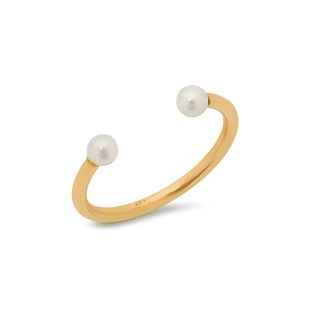 Double Pearl Wire Cuff Ring - VictoriaSix.com