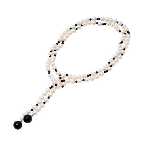 Pearl, Black Onyx and Agate Necklace - VictoriaSix.com