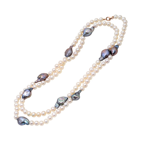 Long white freshwater pearl strand necklace with baroque grey freshwater pearls