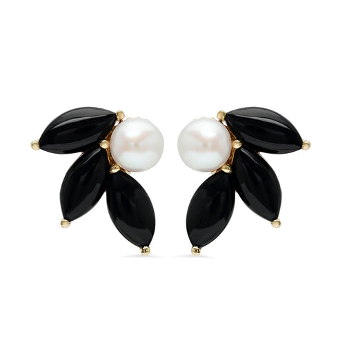 Pearl and Black Onyx Flower Earrings - VictoriaSix.com