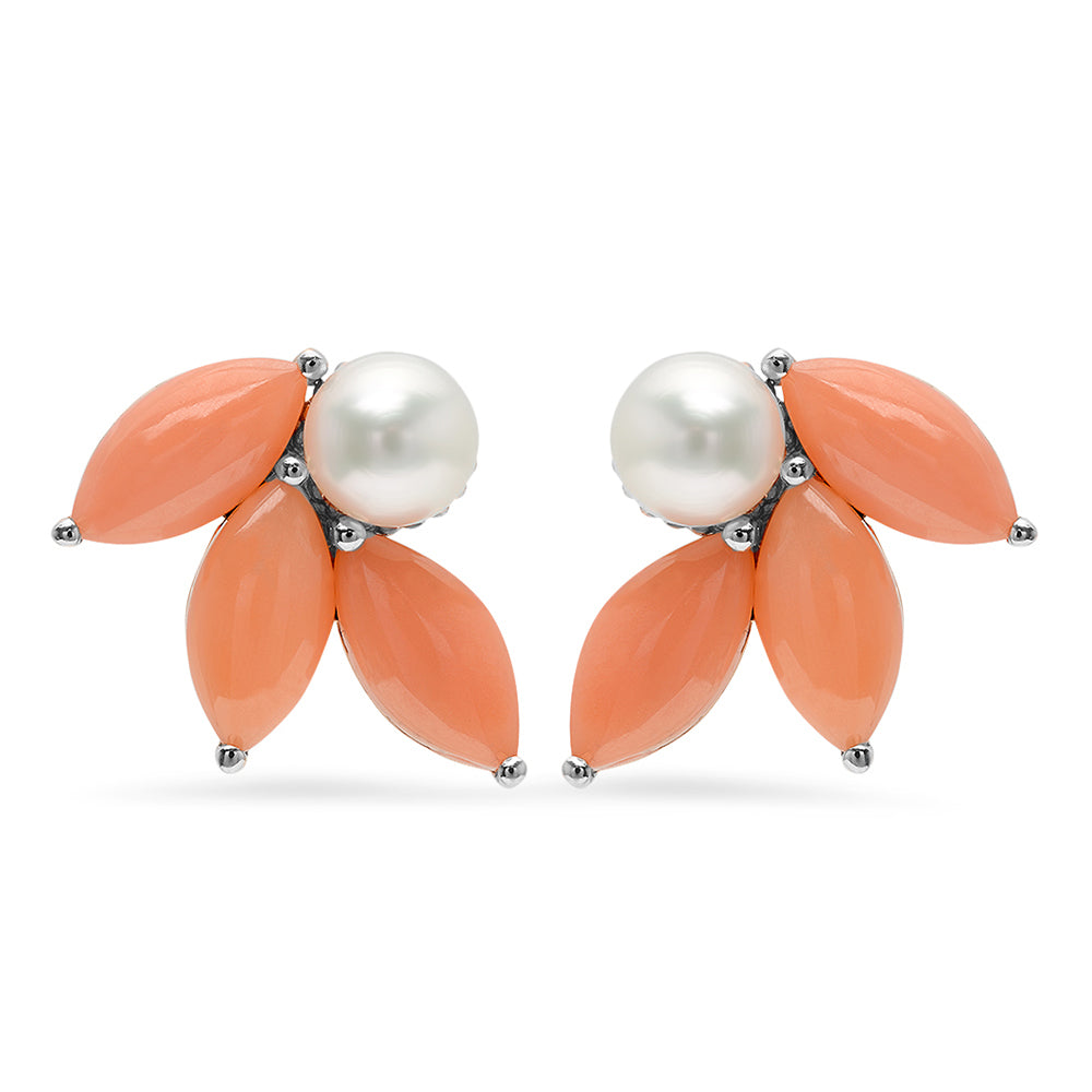 Pearl and Coral Flower Earrings - VictoriaSix.com