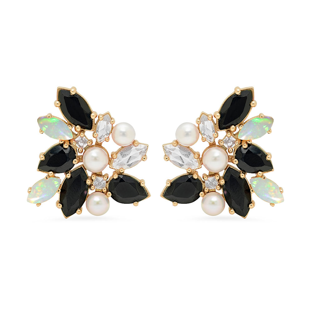 Black Onyx and Pearl Art Deco Earrings - VictoriaSix.com