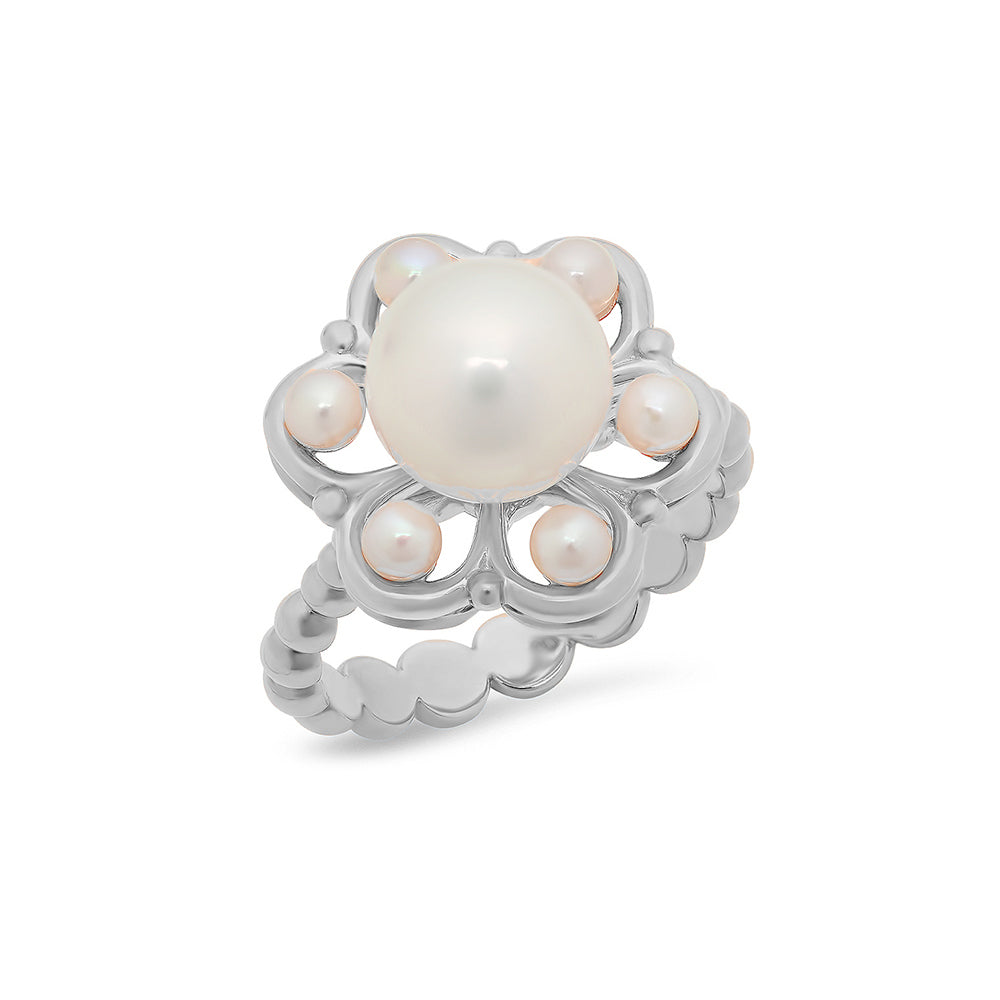 Multi-Pearl Flower Bead Ring - VictoriaSix.com