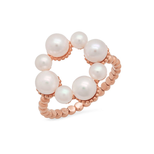 Pearl and Gold Flower Ring - VictoriaSix.com