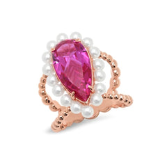 Hot Pink Pear and Pearl Cocktail Ring - VictoriaSix.com