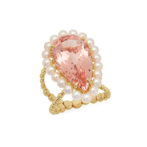 Pear Shape Morganite Cocktail Ring - VictoriaSix.com