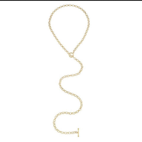 Flat Pearl Lariat Necklace