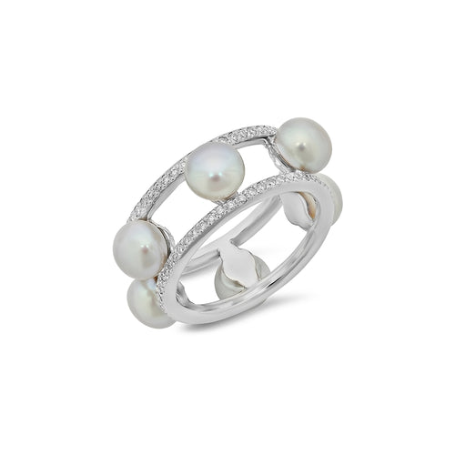 Diamond and Freshwater Pearl Ring - VictoriaSix.com