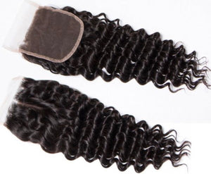 "CLOSURES DEEP WAVE 4x4"" BUNDLES/HAIR"