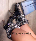Black crystal ILLUSIONATTI heels