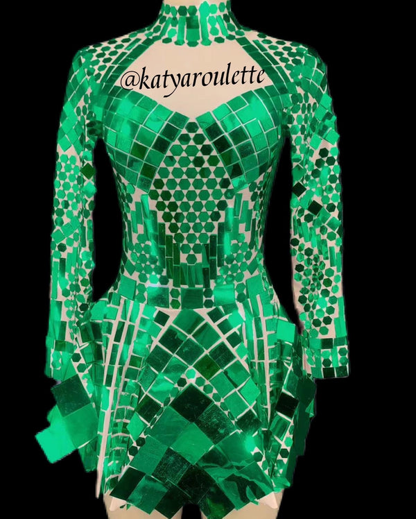 Green  Disco dress ready to ship