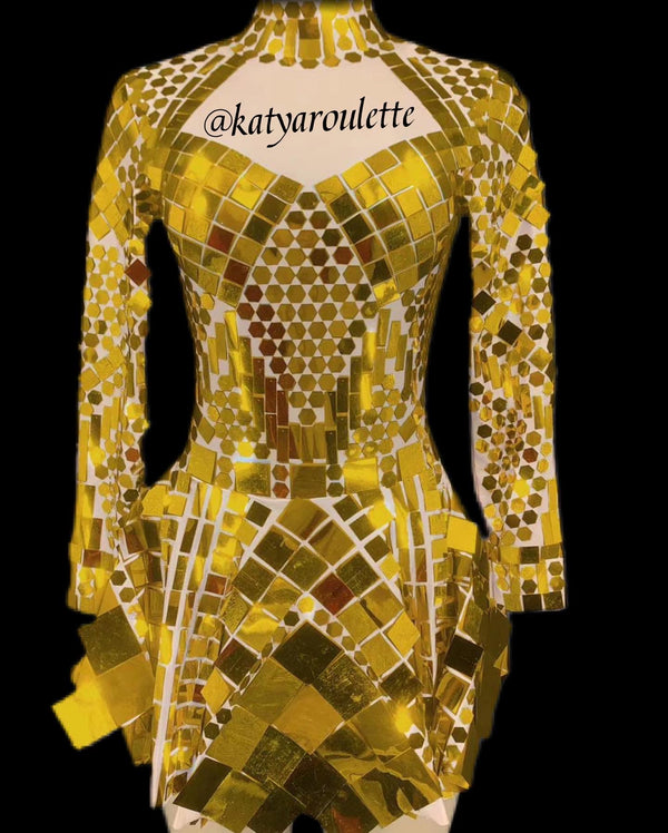 Gold Disco dress ready to ship