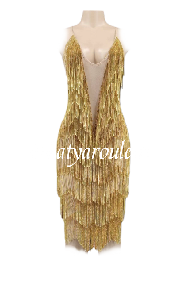 Gold Rush diamond chain fringe dress ready to ship