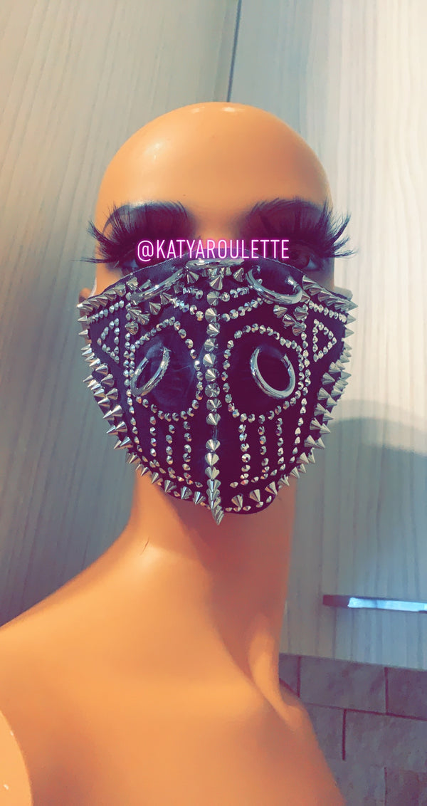 Spiked out face cover mask- Ready to ship, ships the same business day
