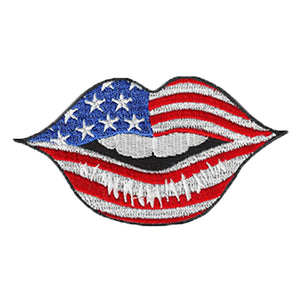 USA Flag Lip Tattoo Embroidered Patch
