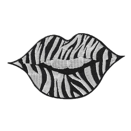 Zebra Stripe Lip Tattoo Embroidered Patch